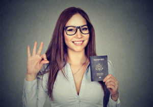 woman with USA passport